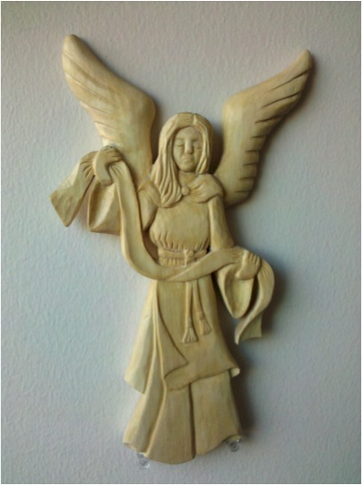 Christian viking wood carving