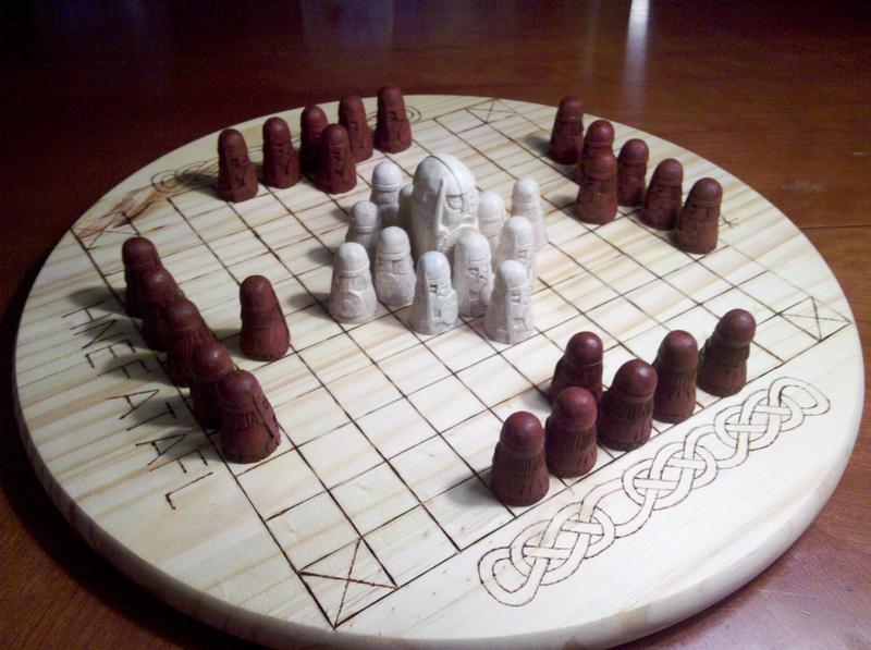 carved Hnefatafl game