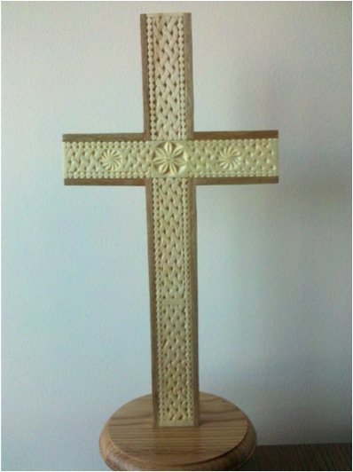 Chip carved cross viking wood carving