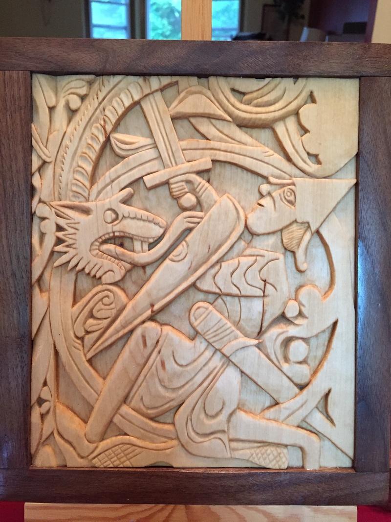 Home viking wood carving